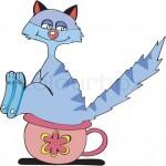 Tegneseriefigur af kat på potte